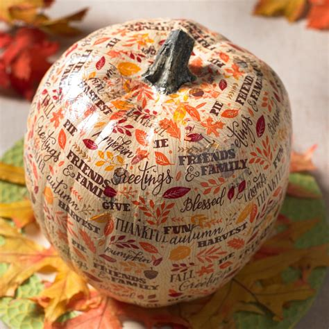 Napkin Decouoage 11 use napkins to decoupage a foam pumpkin cathie filian