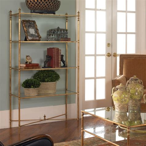 Etagere Türkis by Henzler Gold Leaf Glass Shelf Etagere Bookcase Zin Home
