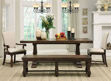 rectangle table with bench walnut wood dining table with rectangle brown leather seat
