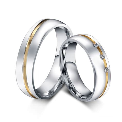 1 pair gold plated custom alliance stainless steel wedding