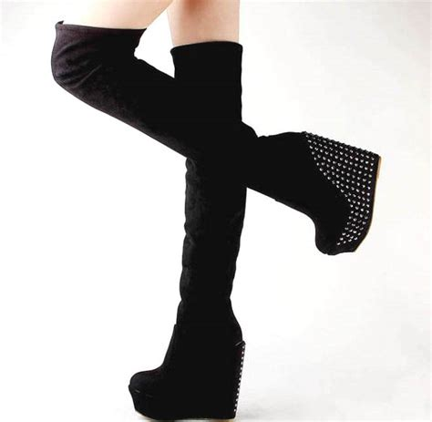 high heel boots wedges brown black vogue cool stud thick chunky platform high