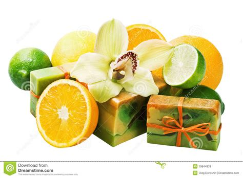 Handmade Fruits - handmade soap and fruit royalty free stock images