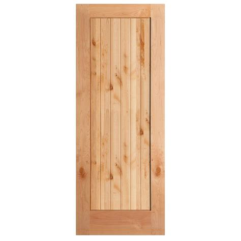Solid Pine Doors Interior Masonite 30 In X 84 In Knotty Pine 1 Panel Shaker V Groove Solid Wood Interior Barn Door Slab