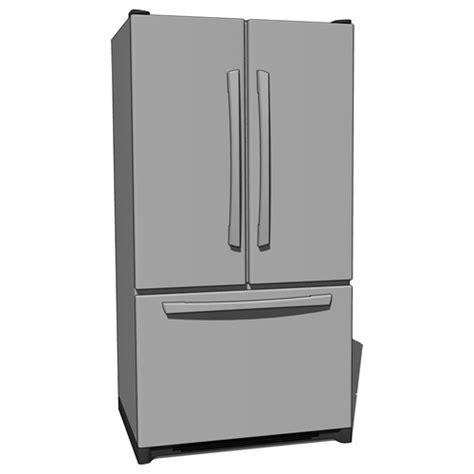 French door type refrigerator 3D Model   FormFonts 3D