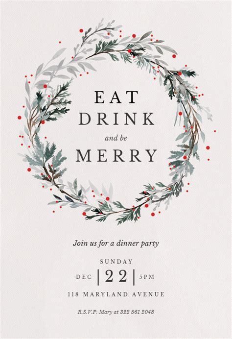 holiday wreath christmas invitation template   island