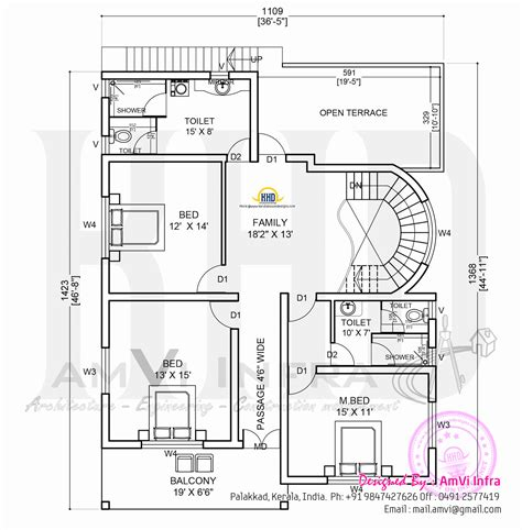 Free Floorplans by Elevation And Free Floor Plan Home Kerala Plans