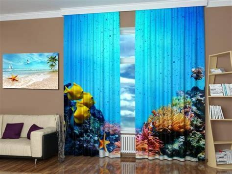 ocean themed window curtains digital printing and colorful photo curtains bringing