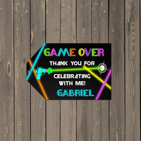 laser printable gift tags laser tag favor tag neon laser tag party goody by