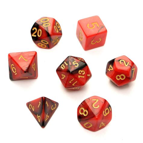 printable d20 dice 7pc set trpg games gaming dices d4 d20 multi sided dices