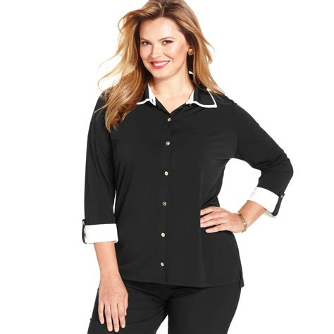 Topshop In New York Plus Size Store To Soon Follow by Jones New York Signature Plus Size Rolltabsleeve