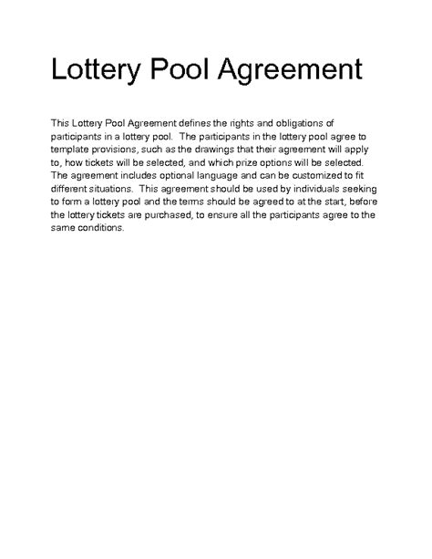 lottery agreement template lottery pool agreement template 28 images lottery pool