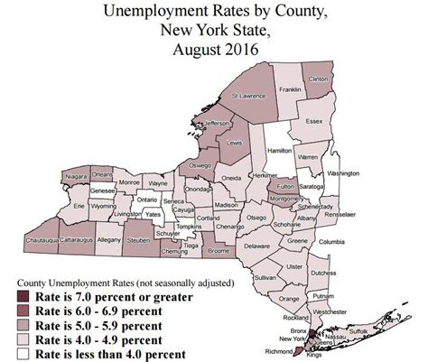 Unemployment Office Nyc by New York County Unemployment Rates For August 2016 Ranked