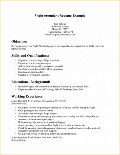 Flight Attendant Resume No Experience by Sle Resume For Flight Attendant With No Experience