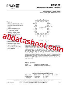 datasheet of rf diode rf3827pcba datasheet pdf rf micro devices