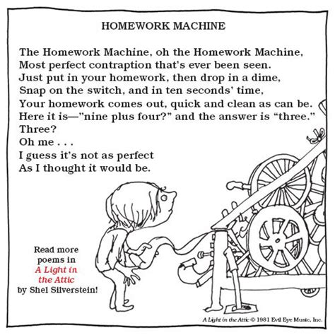 Shel Silverstein Homework by Shel Silverstein S Homework Machine The Douglas And