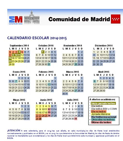 Calendario Escolar Madrid 2014 15 Pdf Calendario Escolar Madrid 2014 2015 Vacaciones Curso