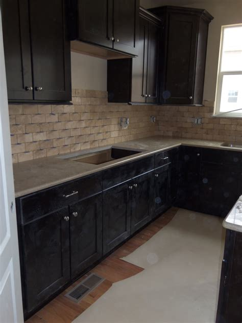 backsplash for dark cabinets ems travertine tile backsplash in beige kitchen ideas