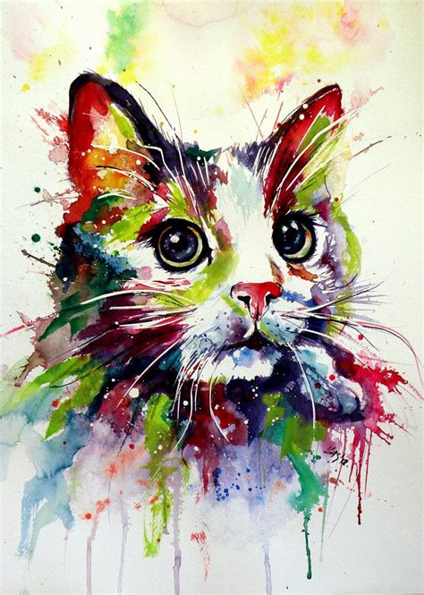 colorful cats colorful cat painting by kovacs brigitta saatchi