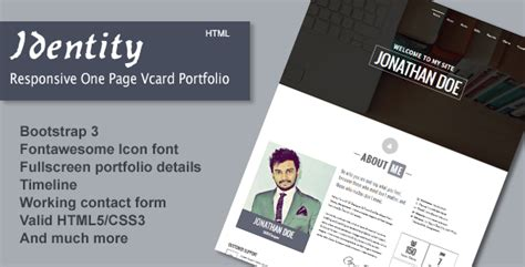 page one responsive vcard resume html template 30 best html business card templates 2016 designmaz