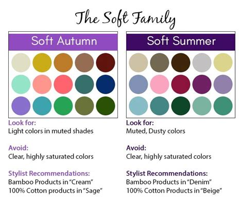 summer season colors soft season color palette soft autumn and soft summer
