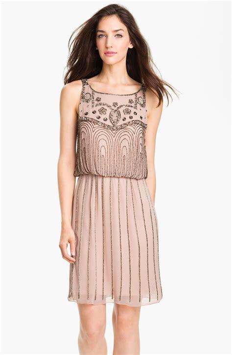 beaded chiffon blouson dress js collections beaded chiffon blouson dress in beige mink