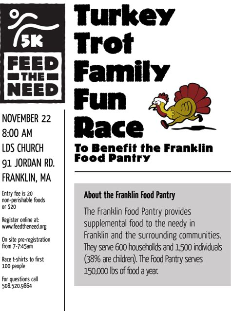 Franklin Ma Food Pantry by Turkey Trot Family Race Nov 22 Franklin Food Pantry