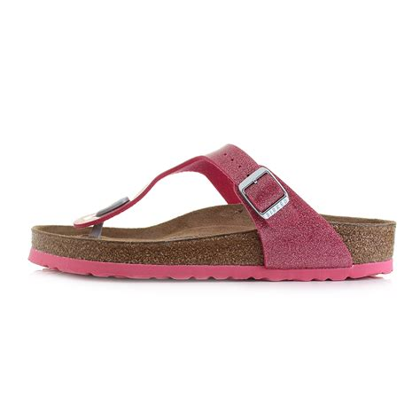 pink sandals womens birkenstock gizeh soft footbed bright pink glitter