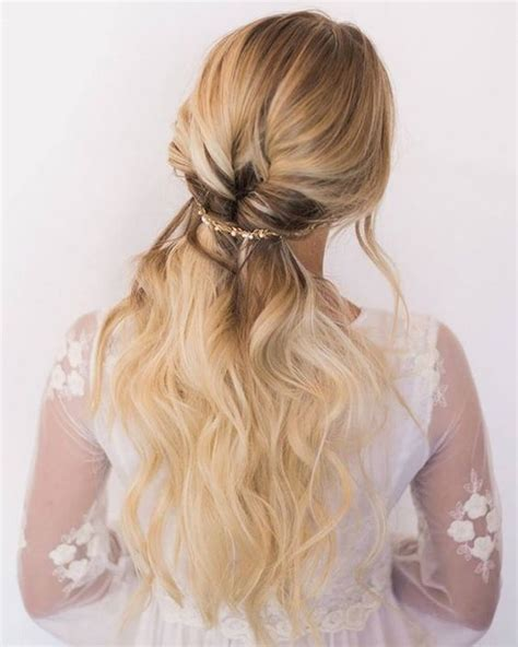 40 stunning half up half wedding hairstyles with tutorial deer pearl flowers