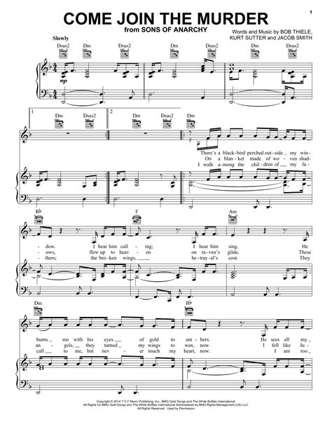 tutorial piano nightcall come join the murder sheet music by white buffalo and the