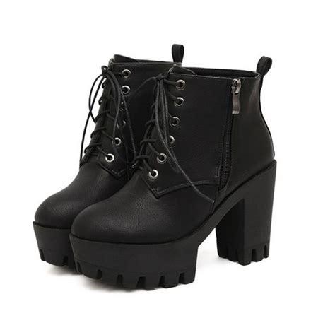 black leather tread platform lace up heel boots