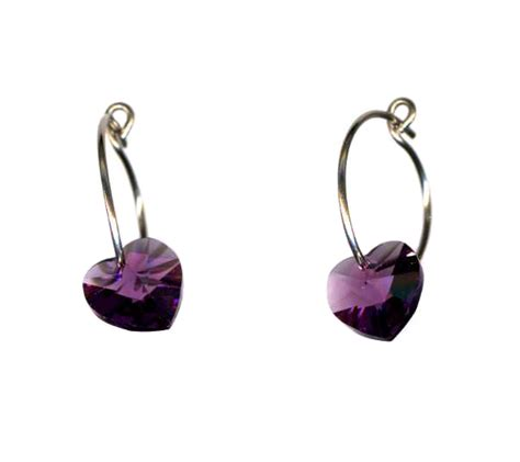 Self Piercing Sleeper Earrings by Titanium Sleeper Earrings With Amethyst Hearts