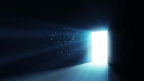 Door Of Light by Openning Door In Room With Shiny Rayes Going Towards