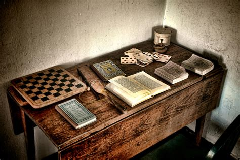 antique play desk   games  ancient books stock