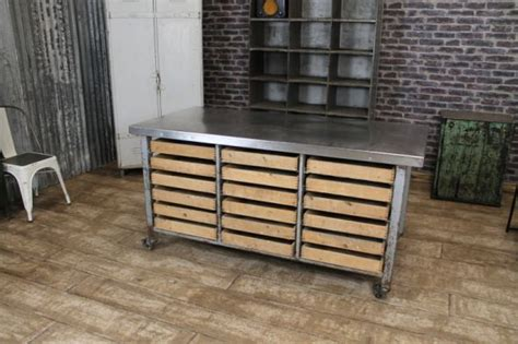 Industrial Kitchen Table Furniture Industrial Kitchen Island Vintage Steel Table Storage