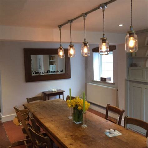 vintage kitchen table lighting how to mix old and new in the keswickl 5 x kilner jar hanging mason lights ceiling