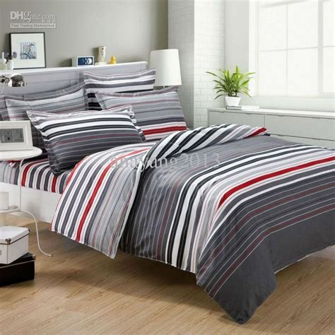 bedding sets for men grey and red comforter grey and red stripes print mens