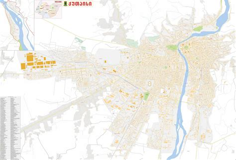 kutaisi map city maps cities and tbilisi districts