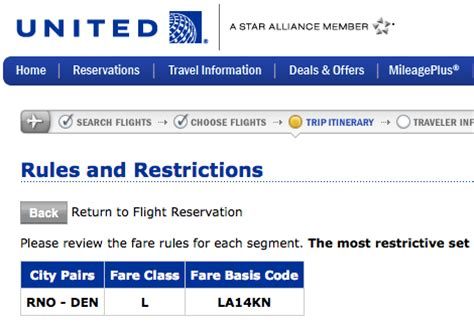 list  description   united airlines fare classes frequently flying