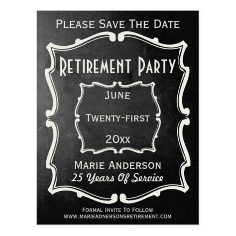 Postcard Style Save The Dates vintage chalkboard style save the date retirement postcard
