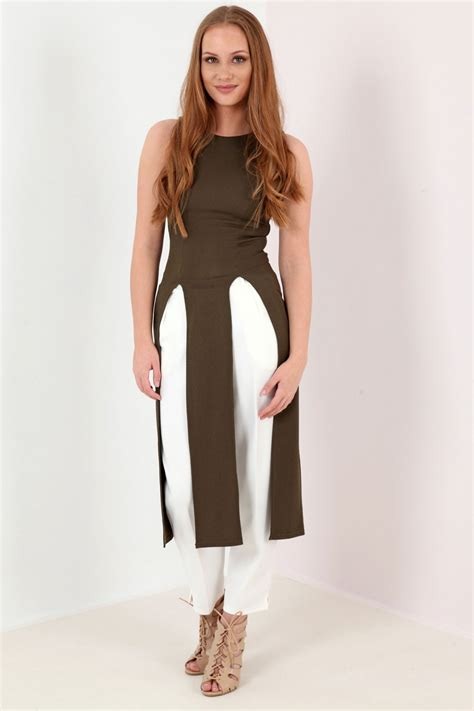 Maxi Top split front sleeveless maxi top from premier glam