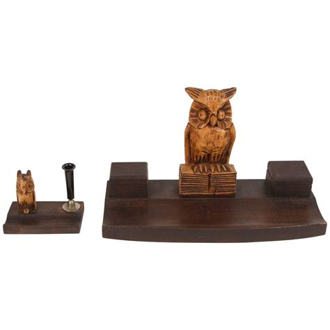 Black Forest Wood Owl Desk Set For Sale At 1stdibs Owl Desk Accessories