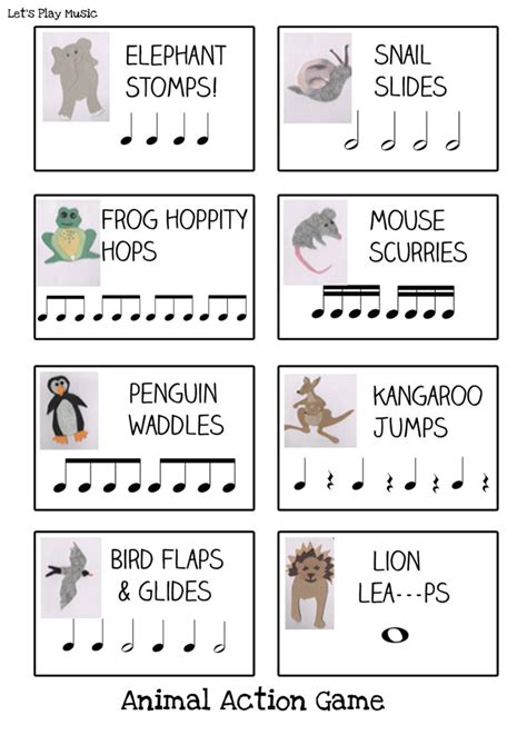printable animal action cards animal actions rhythm game let s play music