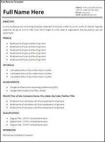 job resume template free word s templates