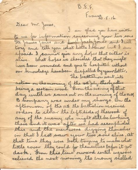 up letter with britain letter from an officer to the parents of and jame