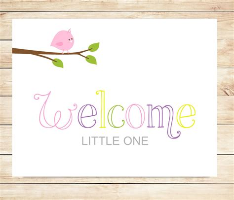 printable card new baby printable new baby girl welcome card instant download card