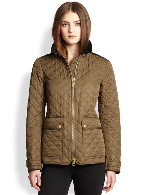 burberry brit cartford quilted field jacket in khaki