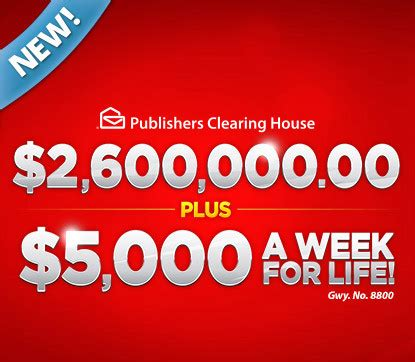 Pch 5000 A Week For Life Entry - pch 2 600 000 00 plus 5 000 a week for life sweepstakes