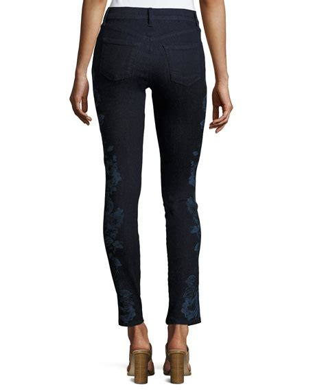 blue patterned skinny jeans j brand 620 mid rise super skinny jeans blue pattern