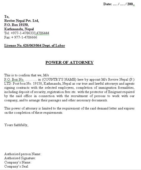 letter of attorney free printable documents