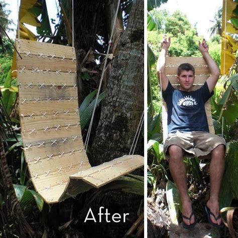 diy rope swing pallet turned outdoor swing chair 187 curbly diy design